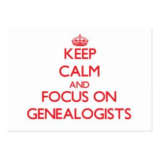 Guarde la calma y el foco en Genealogists Tarjeta De Visita