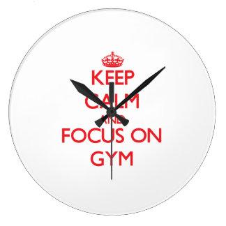 Guarde la calma y el foco en gimnasio reloj redondo grande