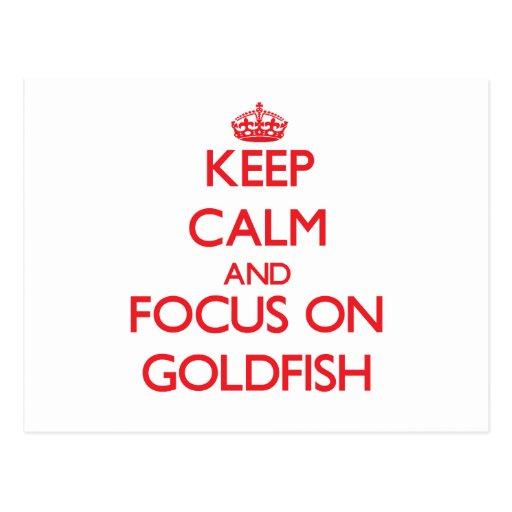Guarde la calma y el foco en Goldfish Postales
