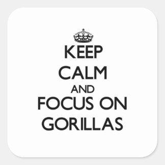 Guarde la calma y el foco en gorilas pegatinas cuadradases personalizadas
