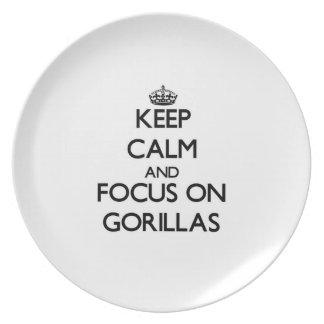 Guarde la calma y el foco en gorilas platos de comidas
