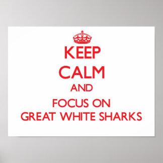 Guarde la calma y el foco en grandes tiburones posters