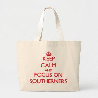 Guarde la calma y el foco en habitantes del sur bolsas lienzo