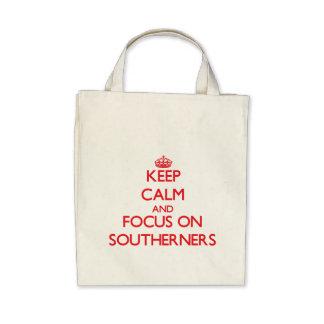 Guarde la calma y el foco en habitantes del sur bolsas de mano