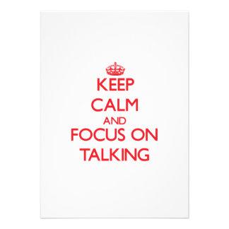 Guarde la calma y el foco en hablar comunicados personalizados