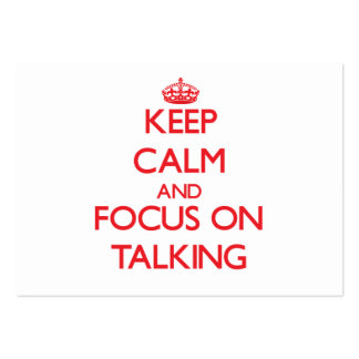 Guarde la calma y el foco en hablar tarjeta de visita