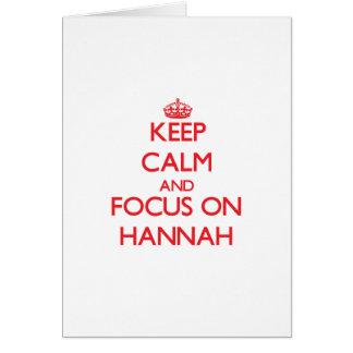 Guarde la calma y el foco en Hannah