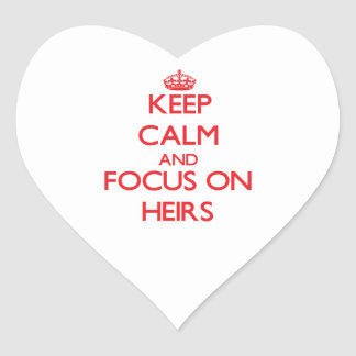 Guarde la calma y el foco en herederos pegatinas corazon