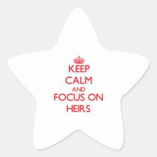 Guarde la calma y el foco en herederos pegatina forma de estrella