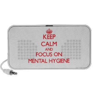 Guarde la calma y el foco en higiene mental altavoces de viajar