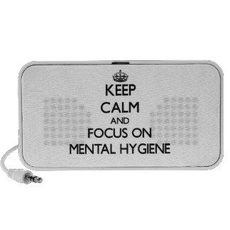 Guarde la calma y el foco en higiene mental laptop altavoces