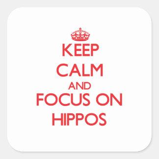 Guarde la calma y el foco en hipopótamos pegatinas cuadradases personalizadas