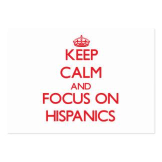 Guarde la calma y el foco en hispanico plantillas de tarjetas de visita