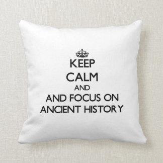 Guarde la calma y el foco en historia antigua almohadas