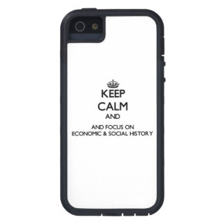 Guarde la calma y el foco en historia económica y iPhone 5 Case-Mate funda