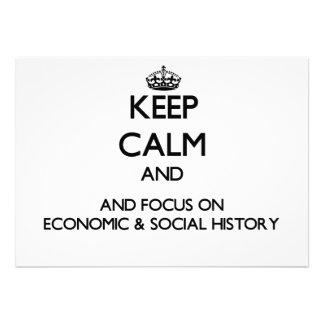 Guarde la calma y el foco en historia económica y invitaciones personalizada
