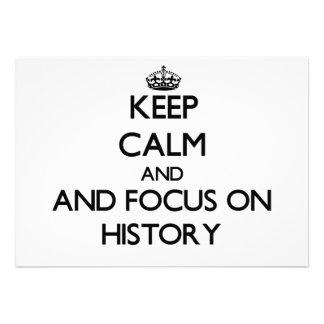 Guarde la calma y el foco en historia invitacion personalizada