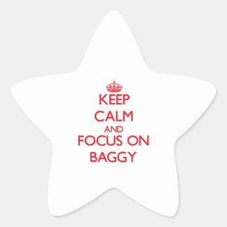 Guarde la calma y el foco en holgado pegatinas forma de estrella personalizadas