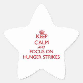 Guarde la calma y el foco en huelgas de hambre pegatina forma de estrella personalizada