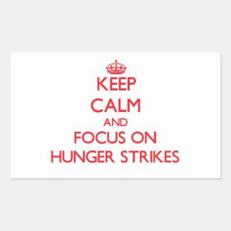 Guarde la calma y el foco en huelgas de hambre rectangular pegatinas