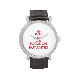 Guarde la calma y el foco en humanidad relojes de mano