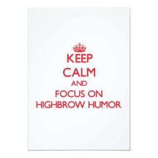 Guarde la calma y el foco en humor del intelectual invitación 12,7 x 17,8 cm