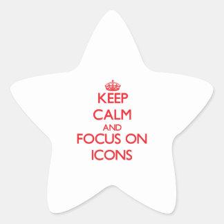 Guarde la calma y el foco en iconos calcomania forma de estrella personalizada