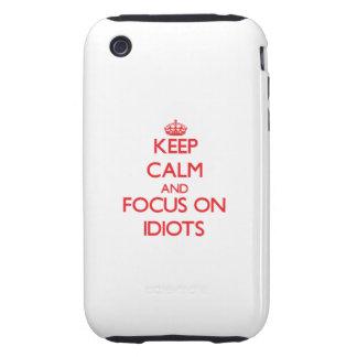 Guarde la calma y el foco en idiotas tough iPhone 3 coberturas