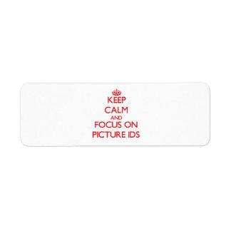 Guarde la calma y el foco en Ids de la imagen Etiquetas De Remite