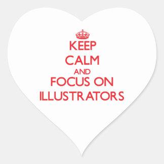 Guarde la calma y el foco en ilustradores colcomanias corazon personalizadas