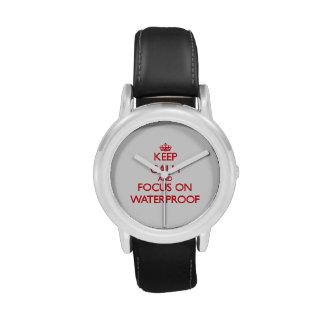Guarde la calma y el foco en impermeable relojes de pulsera