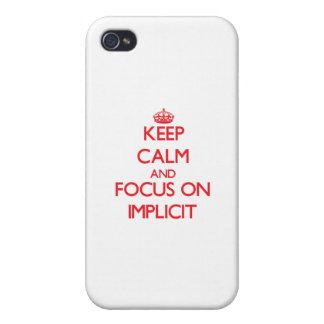 Guarde la calma y el foco en implícito iPhone 4/4S funda