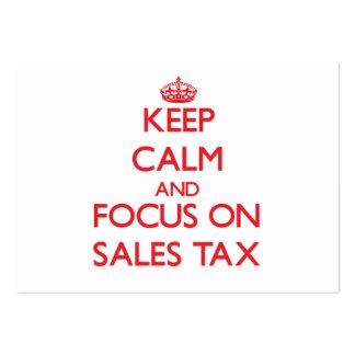 Guarde la calma y el foco en impuesto sobre venta plantilla de tarjeta de visita