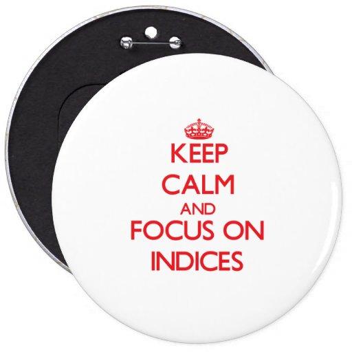 Guarde la calma y el foco en índices pin