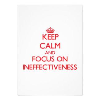 Guarde la calma y el foco en ineficacia