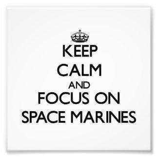 Guarde la calma y el foco en infantes de marina de impresiones fotograficas