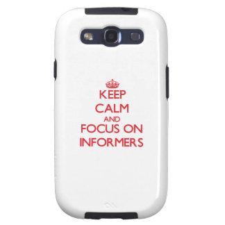 Guarde la calma y el foco en informadores galaxy s3 carcasas