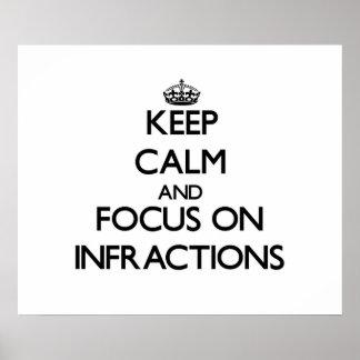 Guarde la calma y el foco en infracciones posters