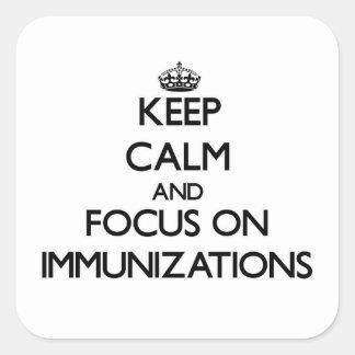 Guarde la calma y el foco en inmunizaciones colcomanias cuadradases