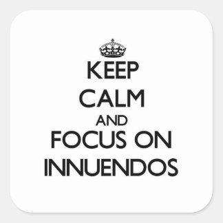 Guarde la calma y el foco en insinuacíones colcomanias cuadradases