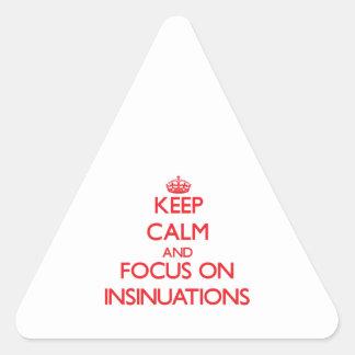 Guarde la calma y el foco en insinuaciones pegatinas trianguloes