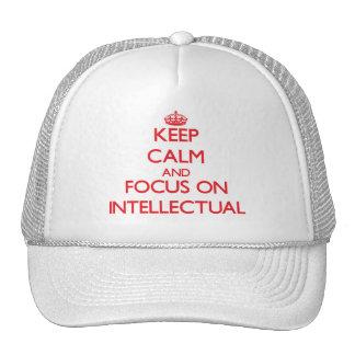 Guarde la calma y el foco en intelectual gorros bordados