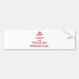 Guarde la calma y el foco en intelectual pegatina para auto