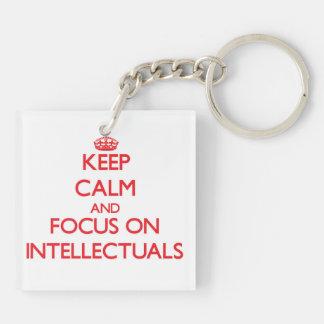 Guarde la calma y el foco en intelectuales llavero cuadrado acrílico a doble cara