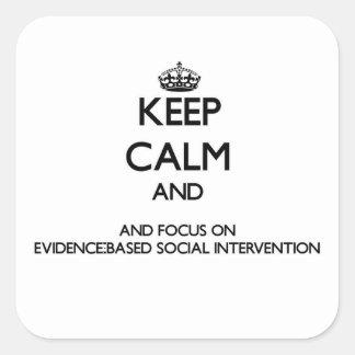 Guarde la calma y el foco en inter social pegatina cuadrada
