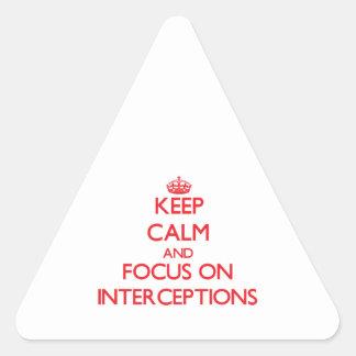 Guarde la calma y el foco en interceptaciones colcomanias triangulo personalizadas