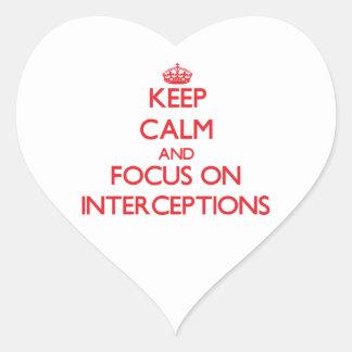 Guarde la calma y el foco en interceptaciones calcomania de corazon personalizadas