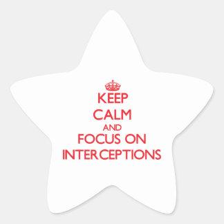 Guarde la calma y el foco en interceptaciones calcomanias forma de estrella