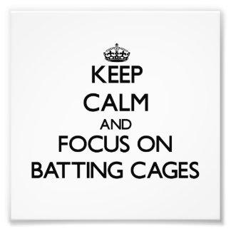Guarde la calma y el foco en jaulas de bateo fotografia