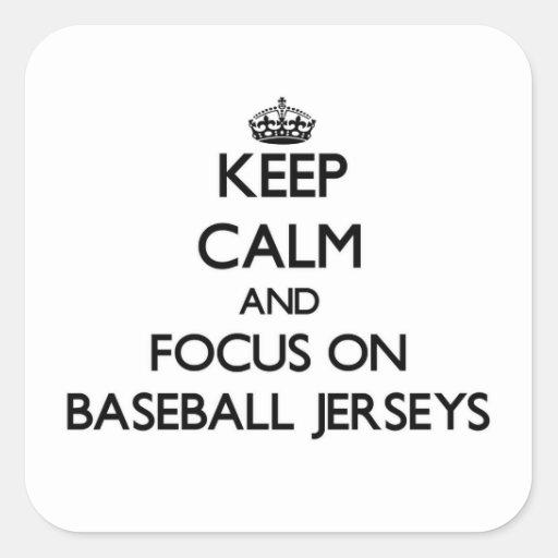 Guarde la calma y el foco en jerseys de béisbol colcomania cuadrada